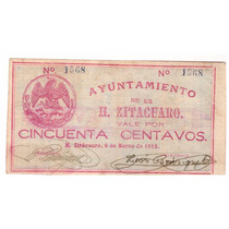 Billete De 50 Centavos Michoacán Revolución Mexicana