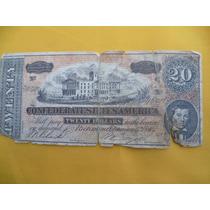 Antiguo Billete De 20.00 Dollar. Edos. Confederos. America