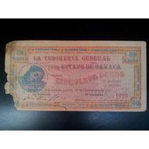 Billete De $50 Pesos, Serie Lp, 10 Noviembre 1915, Oaxaca
