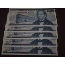 Lote De 5 Billetes $50.00 Juarez Serie Consecutiva, Oferta!!