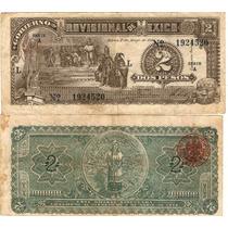 2 Pesos Gob. Prov. De Mexico
