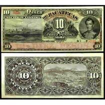 Bk-zac-16 Billete Del Banco De Zacatecas De 10 Pesos