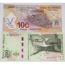 Billetes 100 Y 200 Pesos Centenario Rev. Y Bicentenario Vmj