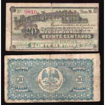 Si-sin-7 Billete De Sinaloa De 20 Centavos