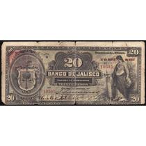 Bk-jal-32 Billete Del Banco De Jalisco De 20 Pesos