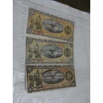 3 Billetes Gobierno Provisional De Mexico , Diferentes, 1