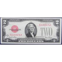 Billete De Usa $ 2 Dollar 1928 Sello Rojo E F Escaso