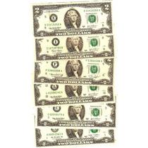 Billete De 2 Dolares De La Suerte Usado