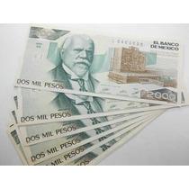 Lote 5 Billetes 2000 Pesos Justo Sierra Numeros Consecutivos