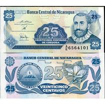Billete Nicaragua 25 Centavos (1991) Flor Hm4