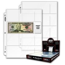 Caja De 100 Micas B C W Con 4 Espacios Para Billetes.