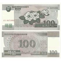 Billete Corea Del Norte 100 Won ( 2008 Magnolias )