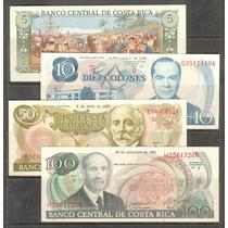 Coleccion De 4 Billetes De Costa Rica