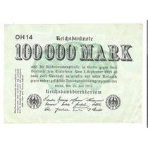 Billete Alemania 100,000 Mark 1923 Republica Weimar F Aff*