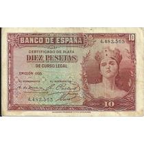 Billete España 10 Pesetas (1935) Mujer Con Corona
