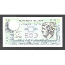 Billete De Italia De 500 Liras De 1974-1979 Unc Aff*