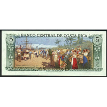 Grr-billete Costa Rica 5 Colones 1990 - 1992 Bello Reverso!!