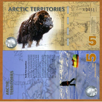 Territorios Árticos 5 Dólares 2012. Polímero.