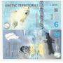 Lobo Polar Billete Territorios Del Artico 6 Dolares (2013)