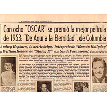 Periodico Ganadores Oscar 1954 Audrey Hepburn William Holden