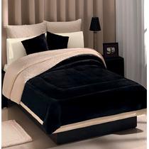 Cobertor Negro Con Borrega Matrimonial Modelo Andromeda