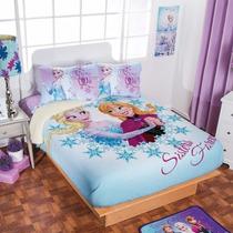 Cobertor Fleece Con Borrega De Frozen, Ana Y Elsa