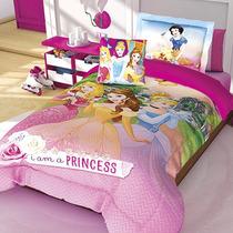 Set Edredon Individual Princesas Hd + Funda Decorativa