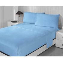 Juego De Sabanas De Franela 100% Algodon Matrimonial Azul