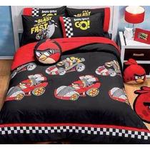 Edredon 2 Vistas Recamara Niño Joven Angry Birds Matrimonial