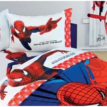 Set De Sábanas Spiderman Individual Hd + Funda Decorativa