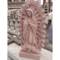 Virgen De Cantera Con Resplandor Y Rosas De 60 Cm Altura.
