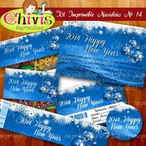 Kit Imprimible Navidad No 14 Tarjetas Invitaciones Candy Bar
