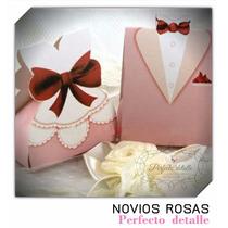 20 Cajas Para Recuerdo De Boda -10 Novio Y 10 Novia Rosas-