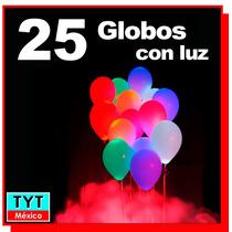 25 Globos Latex Con Luz Led Intermitentes Fiesta Decoración