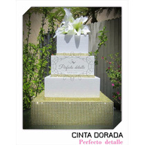 Cinta Dorada Efecto Diamantes Artificiales Decoracion Boda