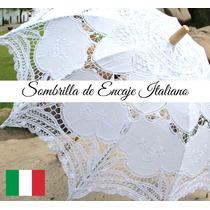 Sombrilla Encaje Novia Blanco Boda Vintage Accesorio