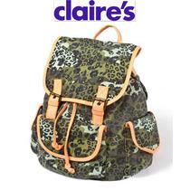 Bolsa Backpack Claires Mochila Piel Fx Verde Militar Naranja