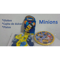 Minions Globo Plato Caja De Dulces Fiesta Infantil