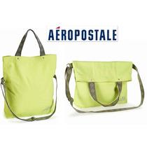 Bolsa Aeropostale Tote Messenger Verde Neon Convertible