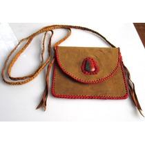 Bolsa De Piel De Cabra Con Tira Roja, Piedra Crisocola Roja