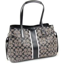 Bolsa Coach Original Signature Stripe En Negro