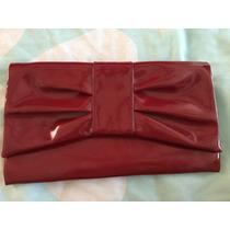 Bolsa Clutch Charol Color Rojo Pequeña Simula Moño