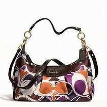Coach Ashley Hand Drawn Scarf Print Convertible Hobo F20063