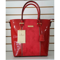 Bolsa Dama David Jones Original. Tote Mediana.roja Charol.