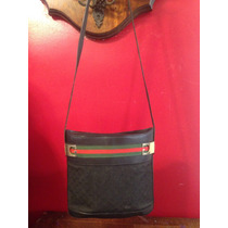 Gucci Vintage Bolsa Crossbody En Color Negro Y Franja Icono