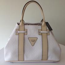 Bolsa Blanca Con Logos Lila Y Beige Original Guess Para Dama