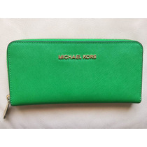Cartera Michael Kors Larga Canvas Verde Zipper Original Wow