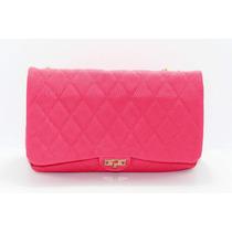 Bolsa Rosa Con Costuras De Rombos B12