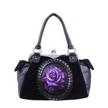 Bolsa Negro Camafeo Rosas Morado Elegante Gotico Lolita