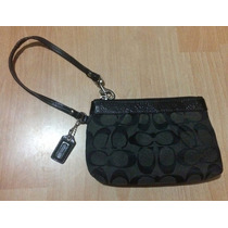 Bolsa Monedero Clutch Coach Signature Negro Piel Original!!